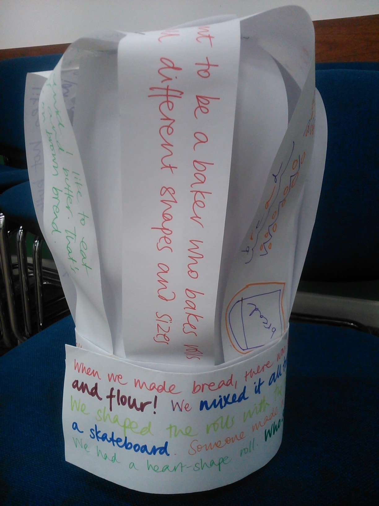 Our baker's hat with story ideas written in...