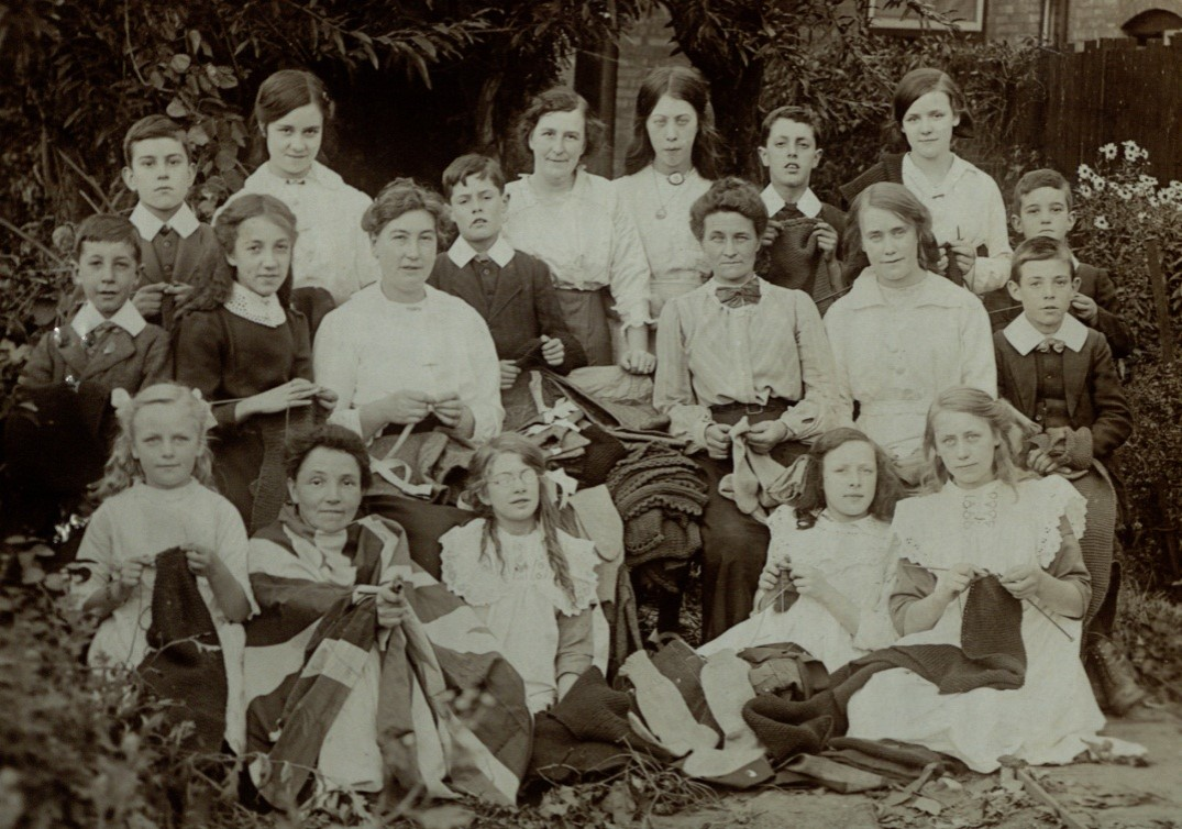 Archive photograph of a knitting party