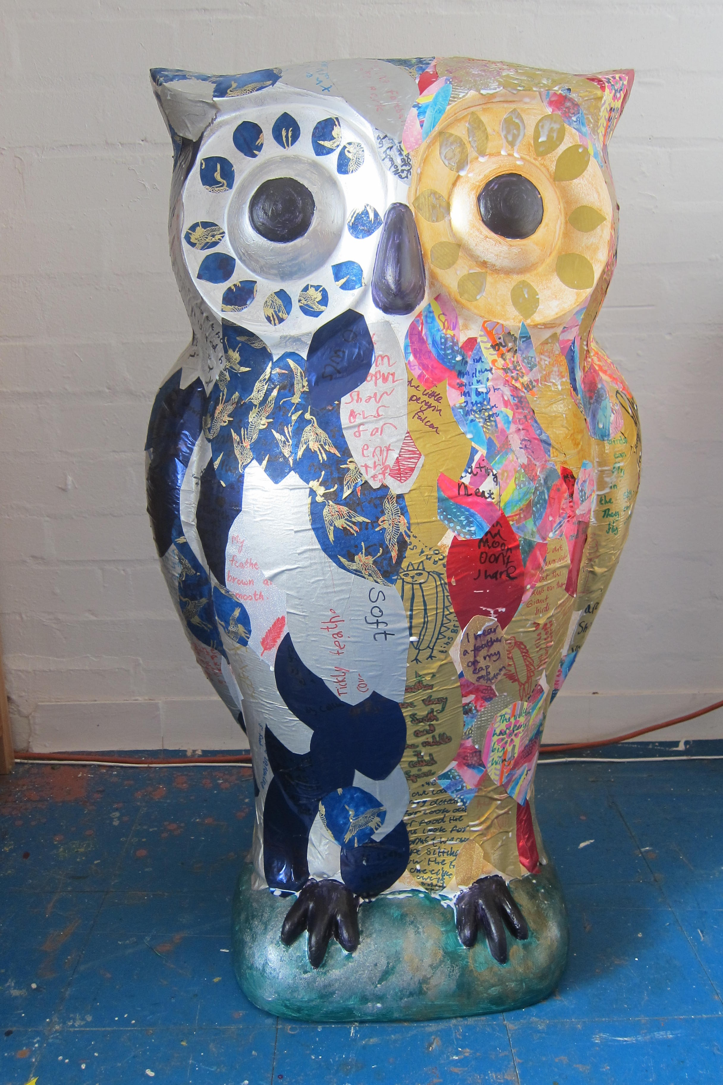 Our Owlet, Parliament of Owls, lit by moonlight on one side and sunlight on the other