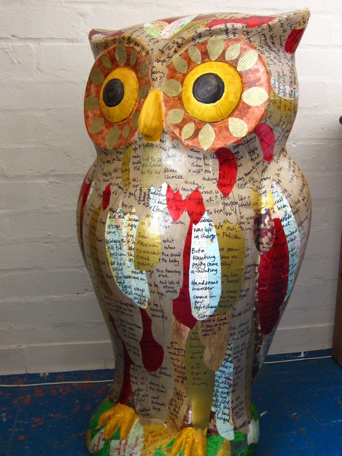 Story Owl feathered with over 200 written feathers